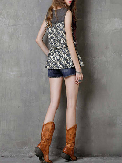 Ethic Floral Lace-Up Knot Round Neck Sleeveless Cotton Tanks & Crops