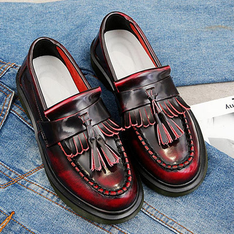 Tassel Large Size Patchwork Low Heel Leather Slip-On Loafers