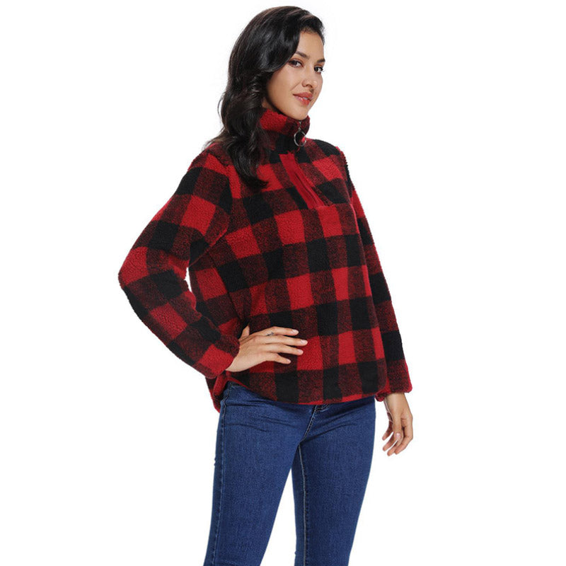 2019 autumn and winter hot sale women's mid-length plaid printed long-sleeved cardigan jacket