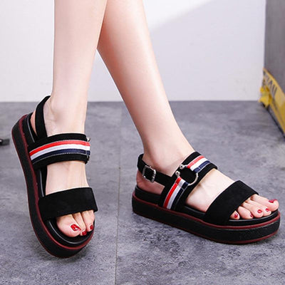 British Stripes Sequins Hollow Platform Buckle Suede Open Toe Sandals