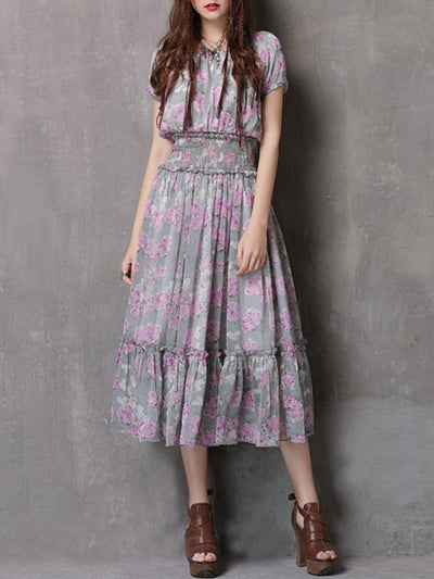 Bohemian Embroidery Round Neck Short Sleeve Pleated Maxi Dresses