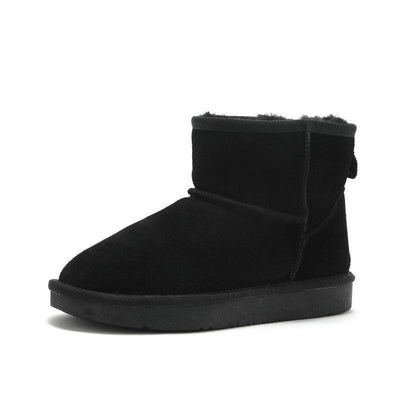 New winter leather short tube thick all-wool flat shoes fur integrated snow boots