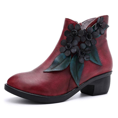 3D Flower Solid Color Side Zipper Chunky Heel Ankle Leather Boots