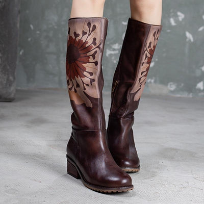2019 autumn and winter new retro leather boots female thick with high boots first layer leather single boots