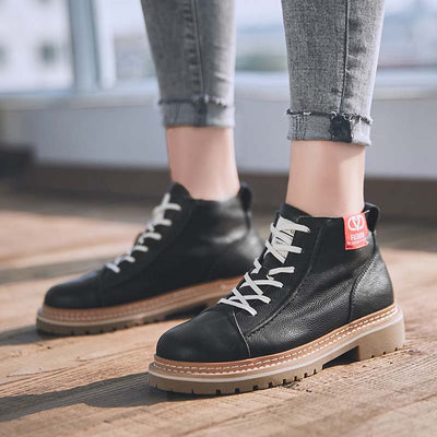 New England fashion high-top thick-soled cargo women's leather boots