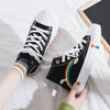 Autumn and winter new plus velvet high-top canvas shoes flat heel casual women's shoes