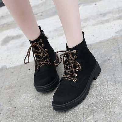 2019 autumn and winter new retro lace-up platform low heel women's Martin boots