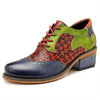 British Wing Tips Color Block Patchwork Round Toe Lace-Up Loafers