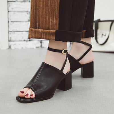 Roman Style Solid Color Peep Toe Buckle Strap Chunky Heel PU Sandals