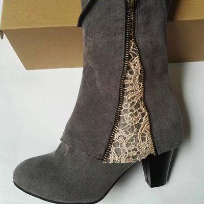 Lace Knee-High Zipper Chunky Heel Suede Boots