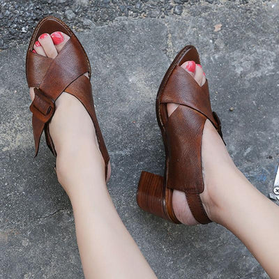 Brief Cross Buckle Hollow Leather Peep Toe Chunky Heel Sandals