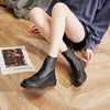 2019 autumn and winter trendy women's leather short boots wild lace-up flat Martin boots