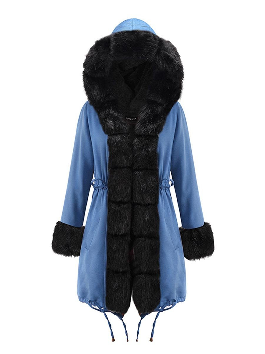 New women's autumn and winter coat camouflage plush fur collar warm coat jacket