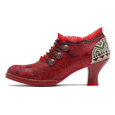 Lace Ruffle Lace-Up Chunky Heel Embroidery Side Zipper Ankle Boots