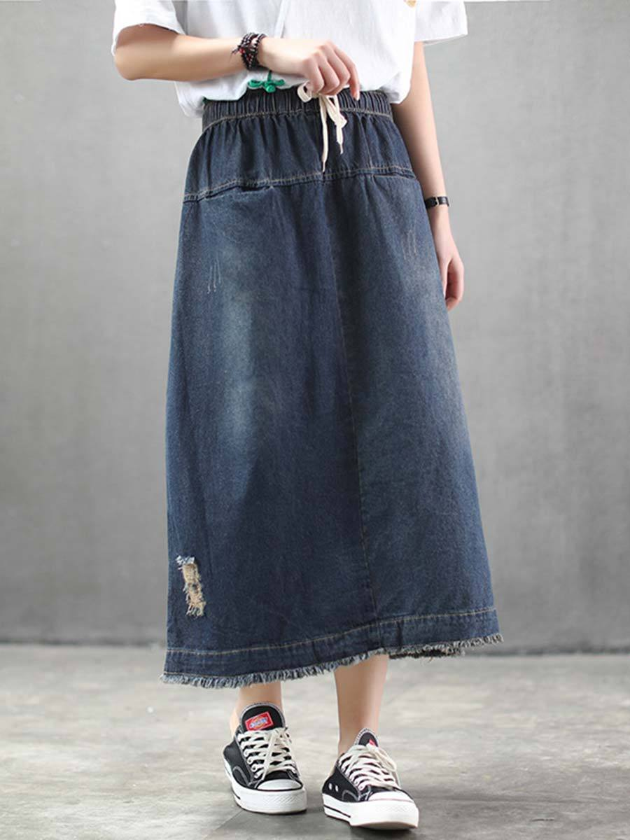 Casual Solid Color Hole Pocket Patchwork Tight Denim Cotton Skirts