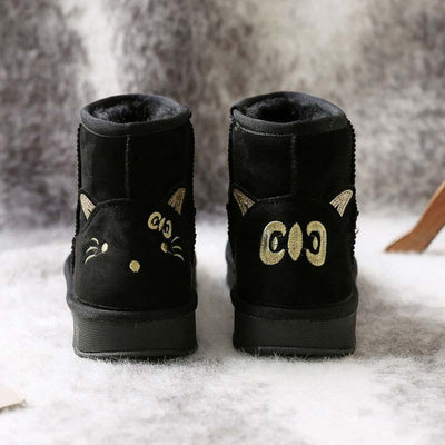 2019 winter new snow boots female suede thick warm cute non-slip cotton boots