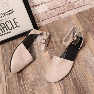 Leather hollow round head comfortable non-slip outdoor sandals