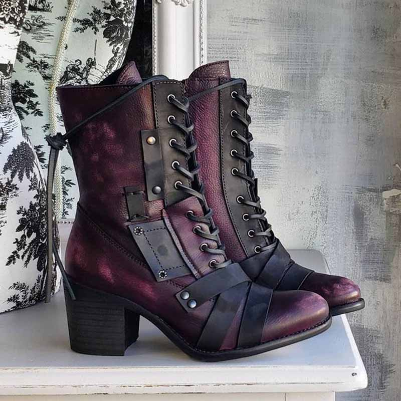 Large size mid-tube women's boots new style rivet high heel polished European and American style Martin boots