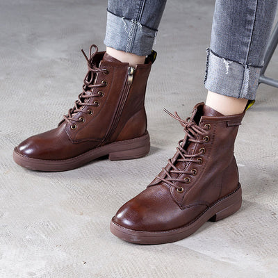 Leather women's boots autumn and winter new fashion high help Martin boots