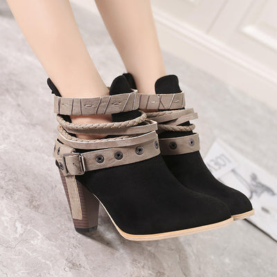 New large size thick heel straps belt buckle round head high heel Martin boots