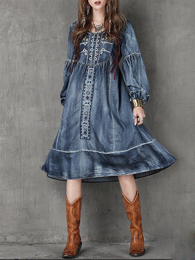 Vintage Round Neck Embroidery Pleated Long Sleeve Loose Denim Dresses