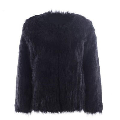 2019 new fashion comfortable warm solid color fur coat