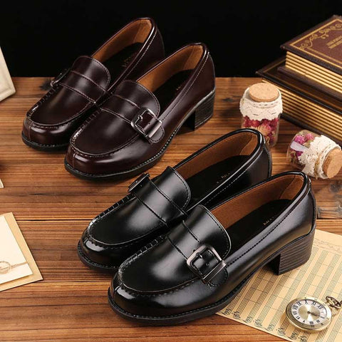Special plus soft buckle cedar uniform shoes
