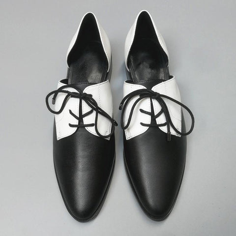 Black & White Wing Tips Patchwork Hollow Lace-Up Leather Loafers