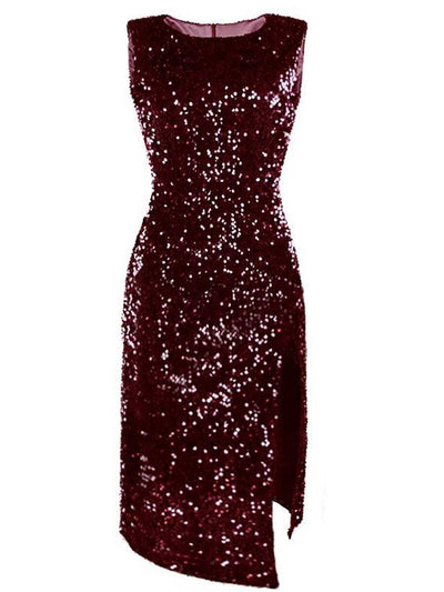 Irregular sequin split dress