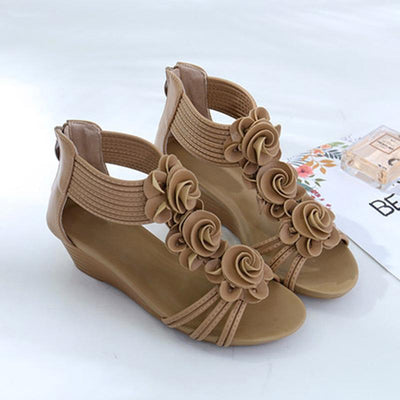 Roman style Floral Wedge Heel Sandals