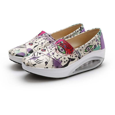 Air cushion canvas wedge with lazy rocking shoes