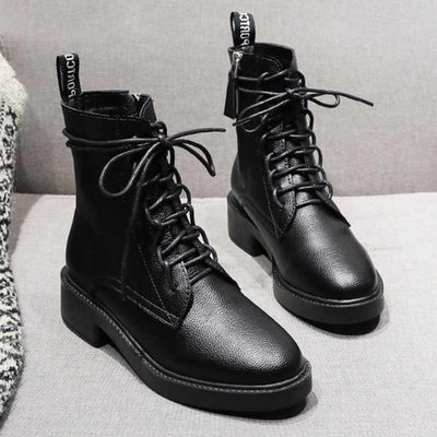 Martin boots female British style new handsome motorcycle boots thick with lace boots autumn and winter plus velvet boots
