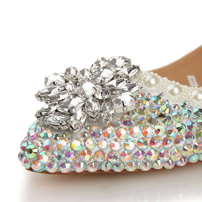 Flower Design Rhinestones Cultured Pearl Point Toe Flat Heel Loafers