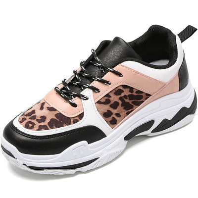 Autumn and winter thick-soled old shoes leopard small white shoes casual sports shoes