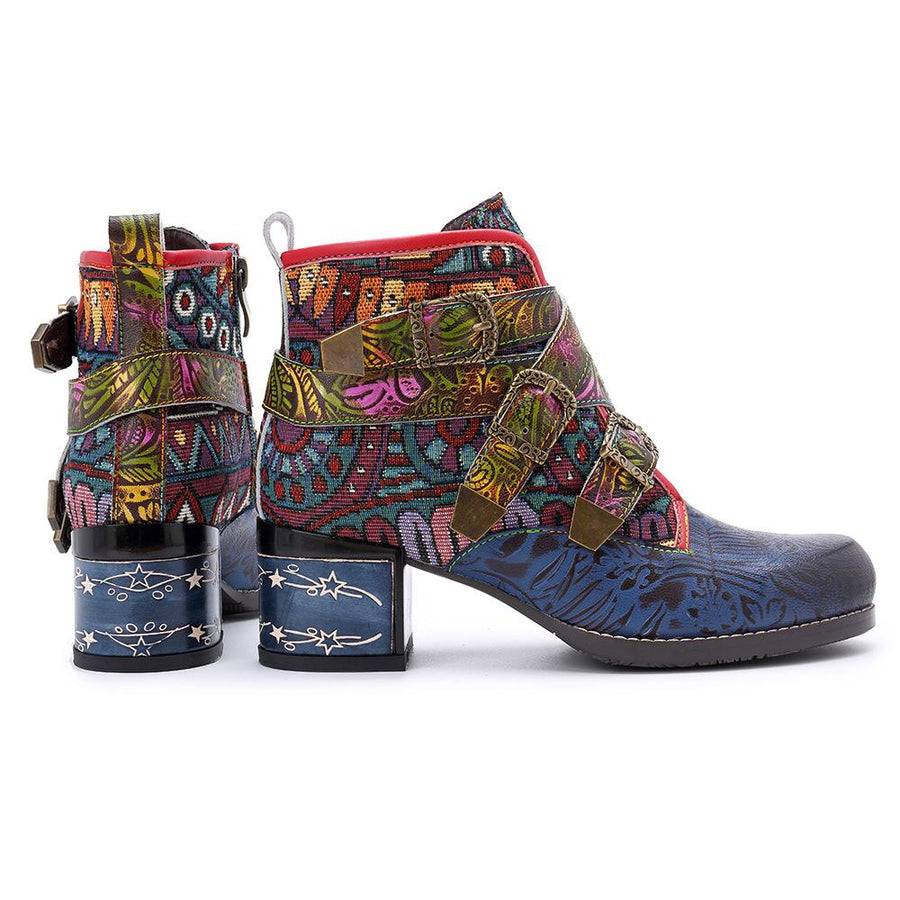 Women's casual retro exotic printing high-end side zipper flat short boots