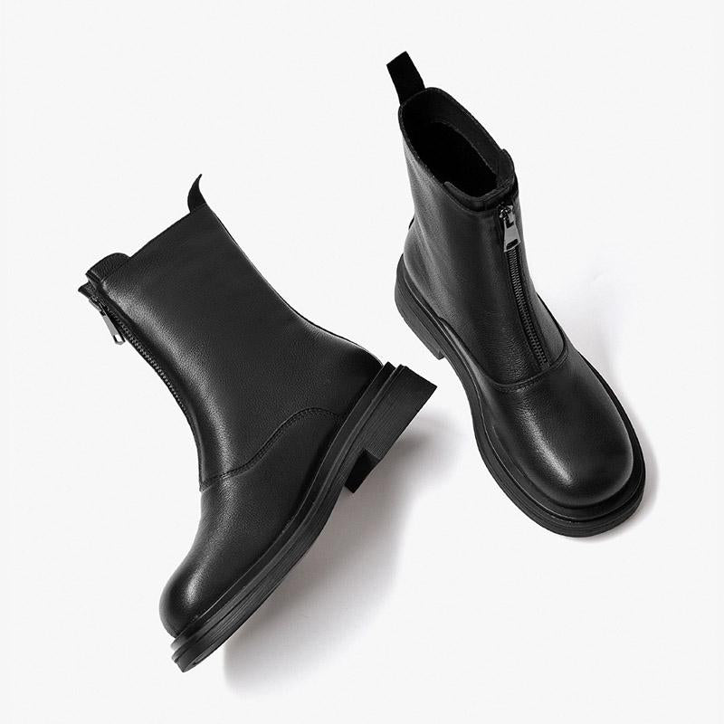 Autumn and winter short Chelsea boots women's retro British style thick-soled leather pipe boots