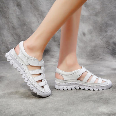 Casual Solid Color Hollow Strap Leather Non-Slip Sports Sandals