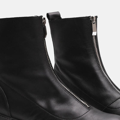 Zipper thick bottom with round head black short boots