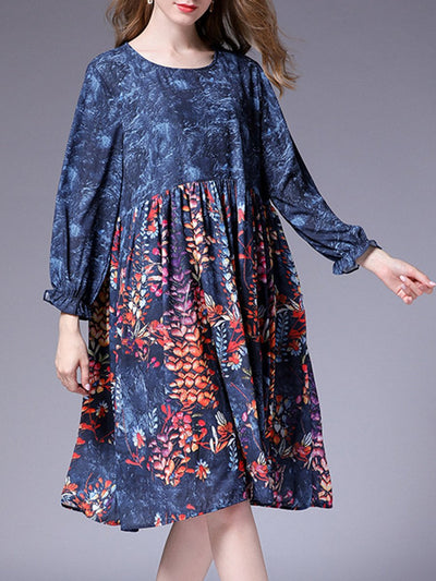 Plus Size Floral Pleated Long Sleeve Round Neck Casual Dresses