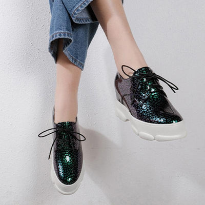 British Floral Patchwork Lace-Up Round Toe Platform Leather Sneakers