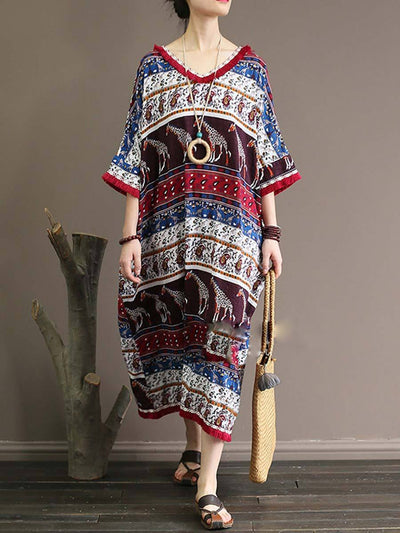 Vintage Floral V-Neck Short Sleeve Loose Tassel Linen & Cotton Dresses
