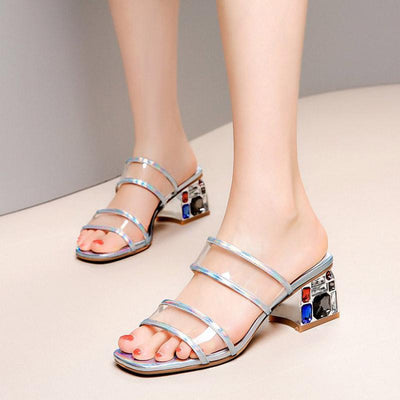Fashion Solid Color Strap Slip-On Chunky Heel Sheer Sandals