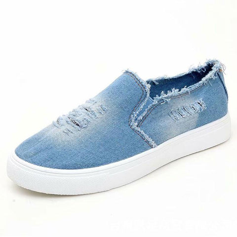 Denim Hole Raw Edges Patchwork Round Toe Flat Heel Sneakers