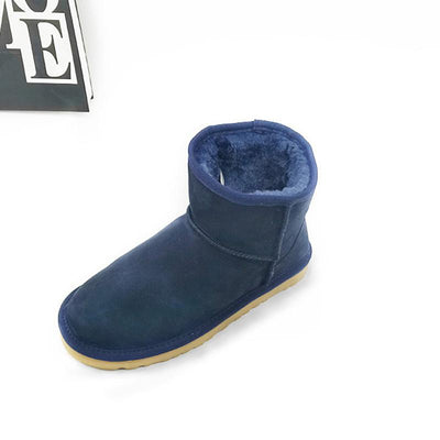 2019 ladies leather waterproof low tube flat with cotton boots snow boots-2