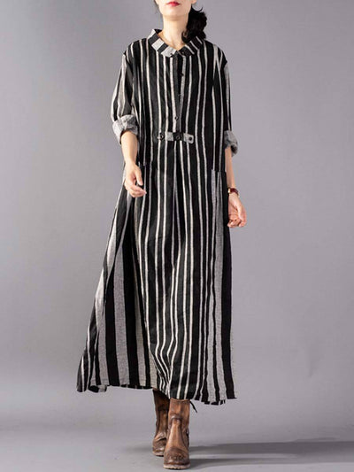 Brief Stripe Long Sleeve Turn Down Collar Buttons Linen & Cotton Dresses