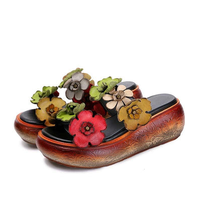 Leather flower female sandals