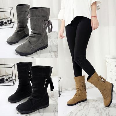 Solid color fashion large size boots belt buckle flat heel rear straps Martin boots