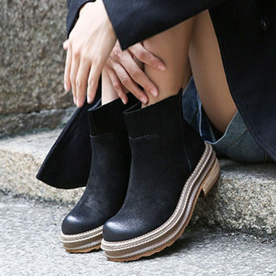 Beads Milgrain Round Toe Leather Platform Ankle Boots