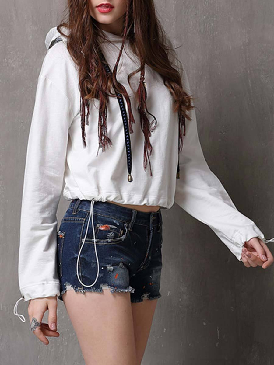 Solid Color Embroidery Long Sleeve Patchwork Loose Pullover Hoodies
