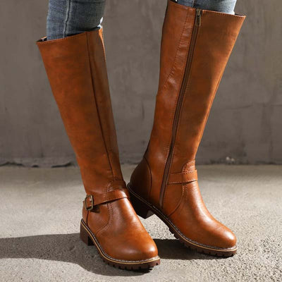 2019 autumn and winter new solid color non-slip wear-resistant belt buckle long tube rider boots women
